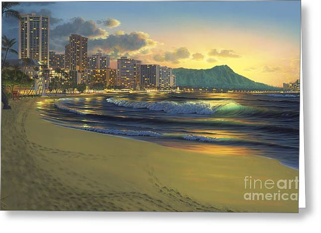 Waikiki Sunrise Greeting Card