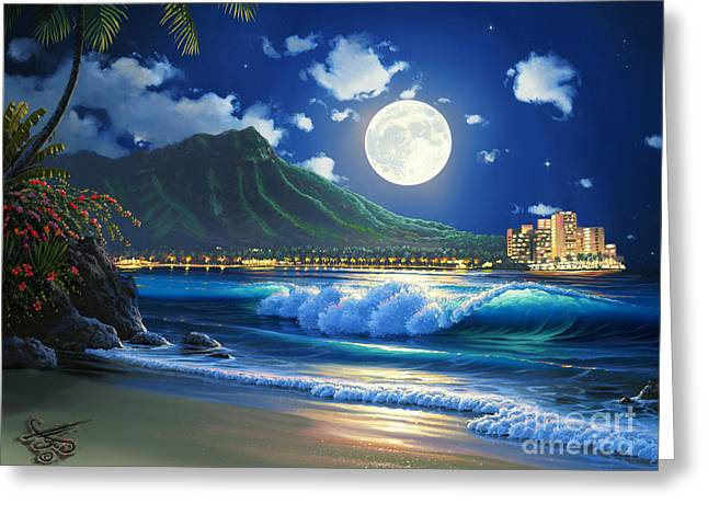 Waikiki Surf Aglow Greeting Card