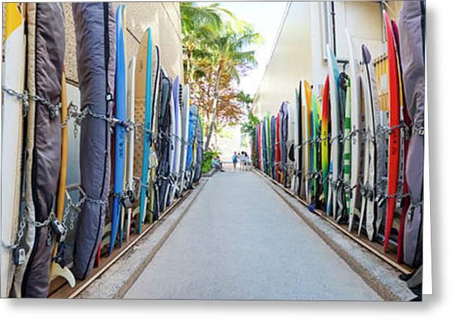 Waikiki Surfboard Storage Greeting Card