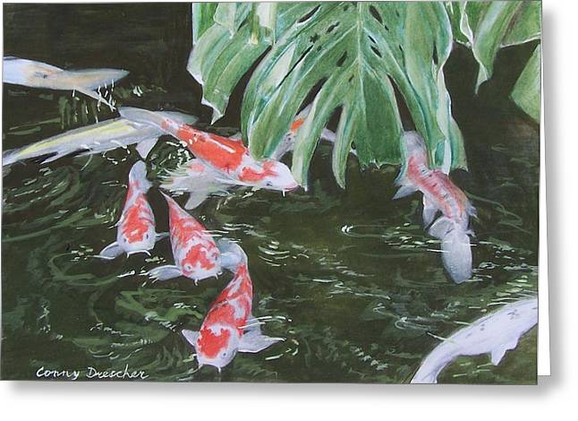 Greeting Card featuring the mixed media Waikoloa Koi Pond by Constance Drescher