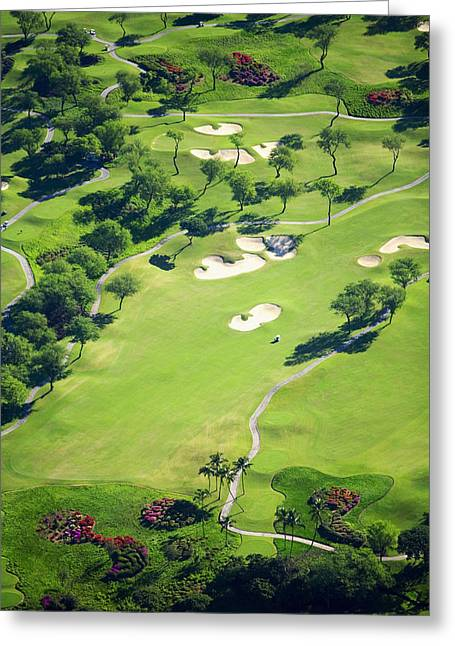 Golf Aerials Greeting Cards - Wailea Gold and Emerald courses Greeting Card by Ron Dahlquist - Printscapes