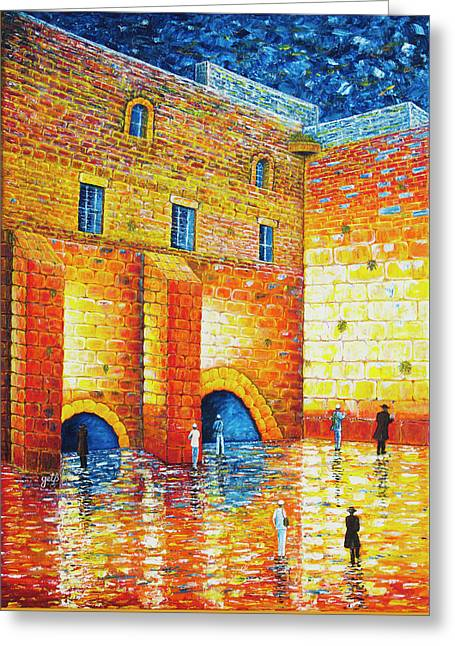 Greeting Card featuring the painting Wailing Wall Original Palette Knife Painting by Georgeta Blanaru