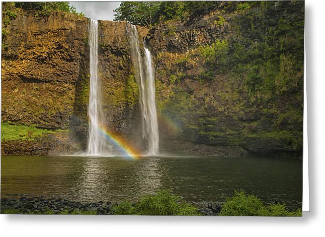 Wailua Falls Rainbow Greeting Card by Brian Harig