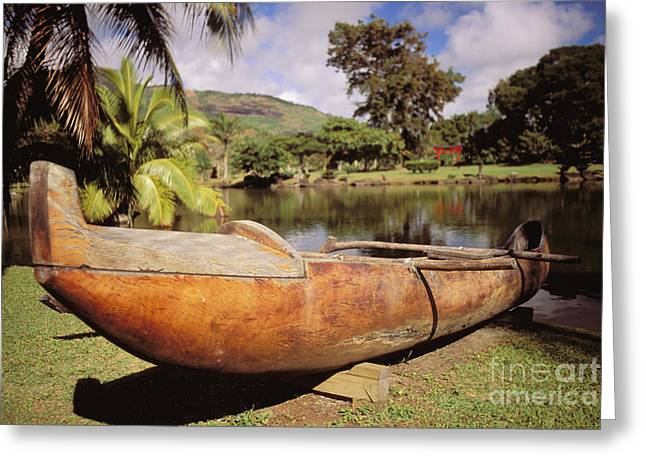 Wailua, Wooden Canoe Greeting Card by Rita Ariyoshi - Printscapes