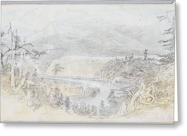 Waimakariri River, 1866, By Nicholas Chevalier Greeting Card by Celestial Images