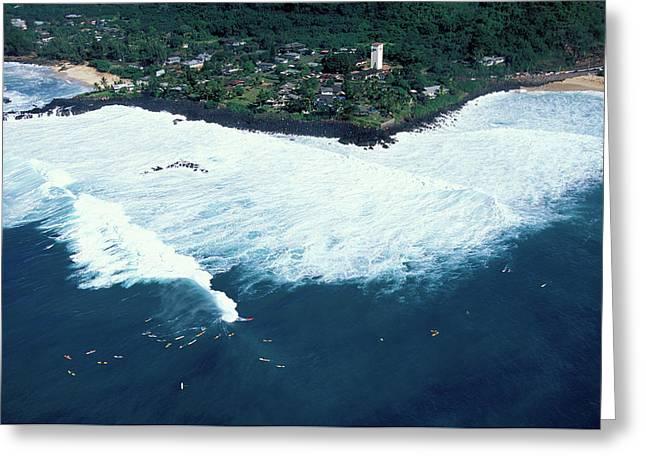 Waimea Bay Overview Greeting Card by Sean Davey