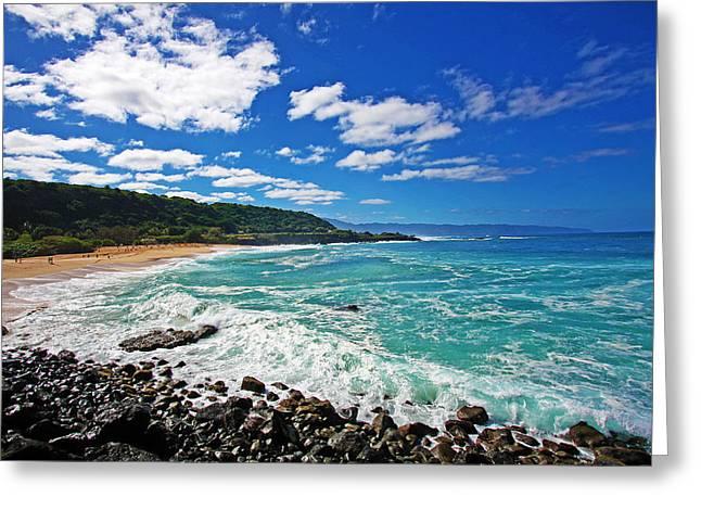 North Shore Greeting Cards - Waimea Bay Greeting Card by Ty Helbach