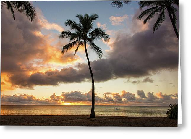 Waimea Beach Sunset - Oahu Hawaii Greeting Card