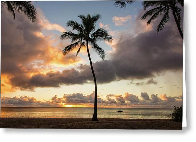 Waimea Beach Sunset - Oahu Hawaii Greeting Card