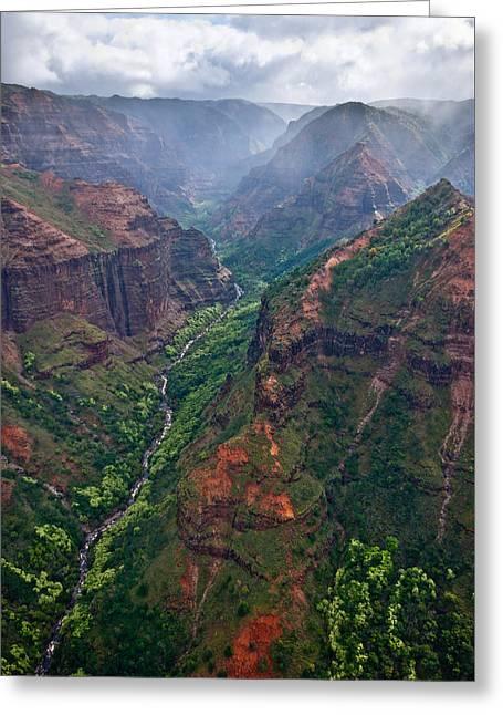 Waimea Canyon Flyover Greeting Card by Thorsten Scheuermann