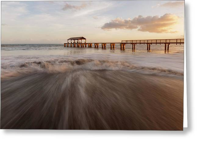 Greeting Card featuring the photograph Waimea Pier by Dustin LeFevre