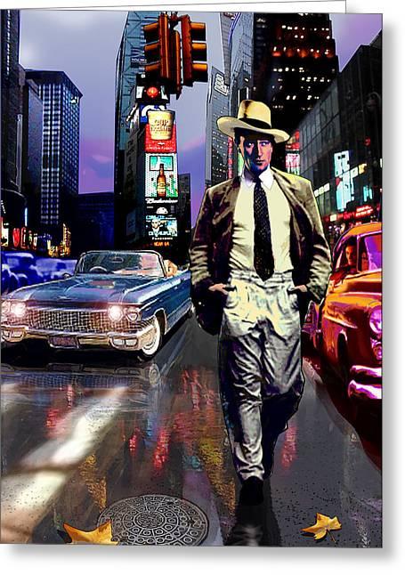 Jose Roldan Rendon Greeting Cards - Waine walking in Times Square Greeting Card by Jose Roldan Rendon