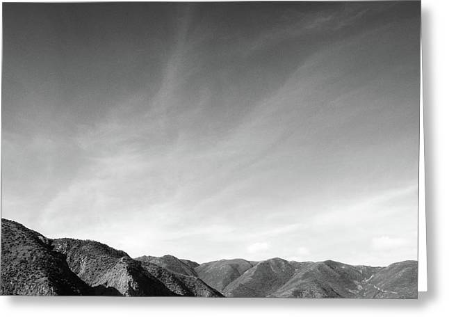 Wainui Hills Squared In Black And White Greeting Card by Joseph Westrupp