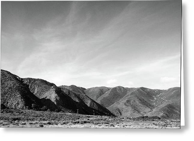 Greeting Card featuring the photograph Wainui Hills Squared In Black And White by Joseph Westrupp