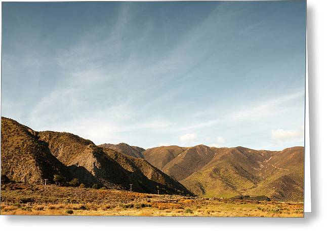 Greeting Card featuring the photograph Wainui Hills Squared by Joseph Westrupp