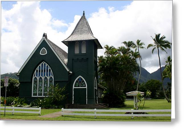 Wai'oli Hui'ia Church Greeting Card by Annie Babineau