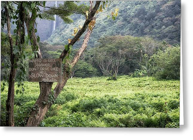 Greeting Card featuring the photograph Waipio Valley Road Rules by Susan Rissi Tregoning