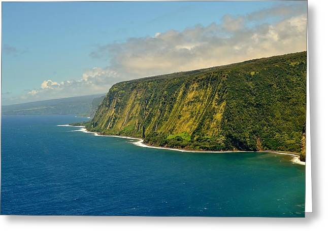 Waipio Waterfall Coastline Greeting Card