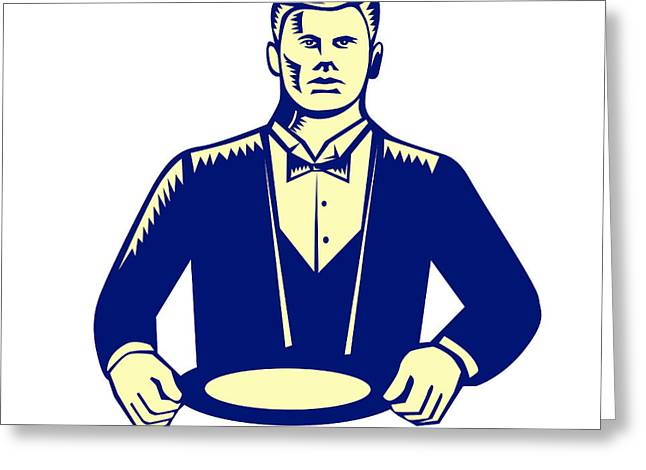 Waiter Cravat Serving Plate Woodcut Greeting Card by Aloysius Patrimonio