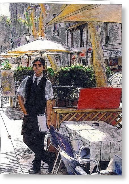 Waiter On La Rambla Greeting Card