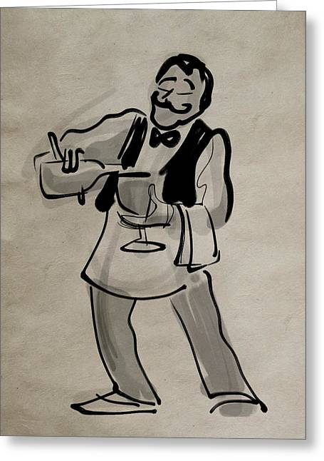Waiter Pouring Wine Greeting Card