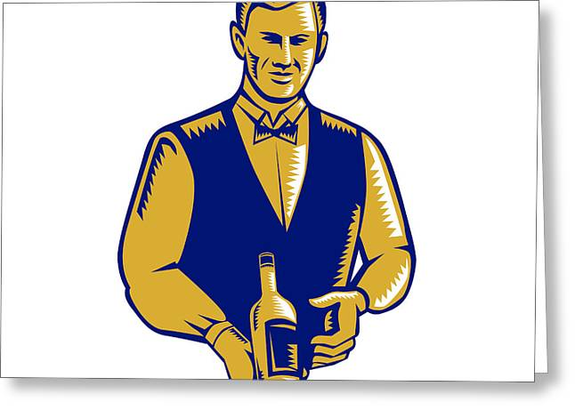 Waiter Presenting Wine Bottle Woodcut Greeting Card by Aloysius Patrimonio