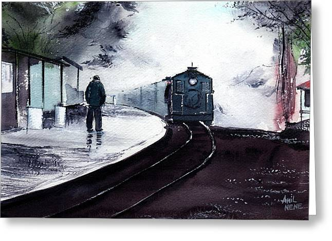 Greeting Card featuring the painting Waiting by Anil Nene