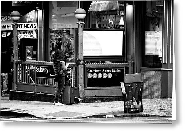 Greeting Card featuring the photograph Waiting At The Chambers Street Station by John Rizzuto