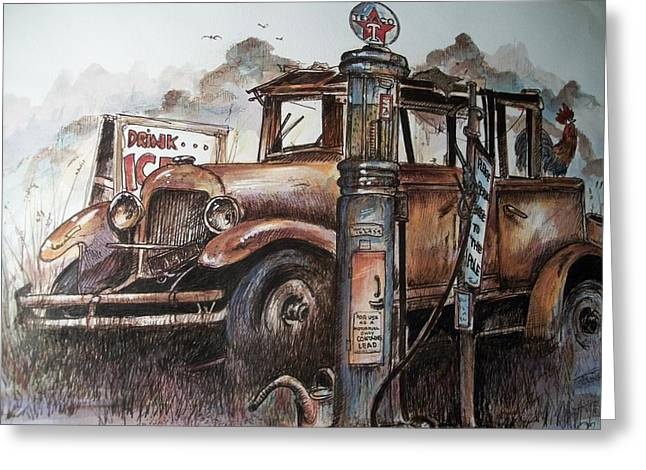 Waiting At The Pump Greeting Card by Dick  Stanton