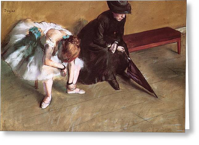 Ballet Dancers Pastels Greeting Cards - Waiting Greeting Card by Edgar Degas
