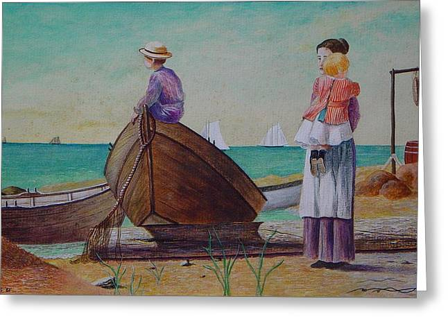 Waiting For Dad Winslow Homer Greeting Card by Ron Sylvia
