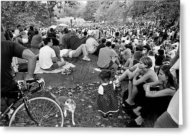 Greeting Card featuring the photograph Waiting For Dali Lama Central Park by Dave Beckerman