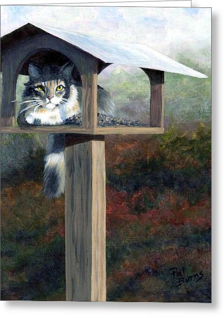 Bird-feeder Greeting Cards - Waiting for Dinner Greeting Card by Pat Burns