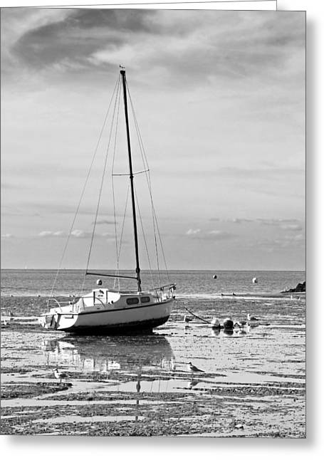 Waiting For High Tide Black And White Greeting Card by Gill Billington
