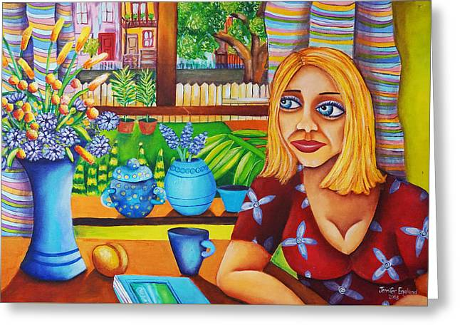 Waiting For News Greeting Card by Jennifer England