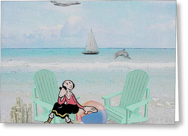 Waiting For Popeye Greeting Card