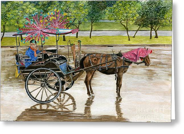 Greeting Card featuring the painting Waiting For Rider Jakarta Indonesia by Melly Terpening