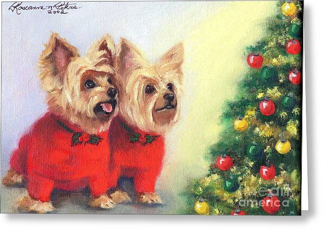Waiting For Santa Dog Greeting Card by Roseanne Marie Peters