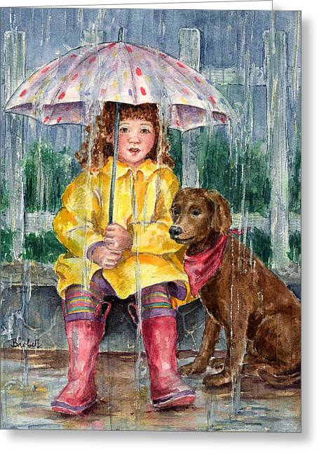 Raincoats Greeting Cards - Waiting for Sunshine Greeting Card by Barbel Amos