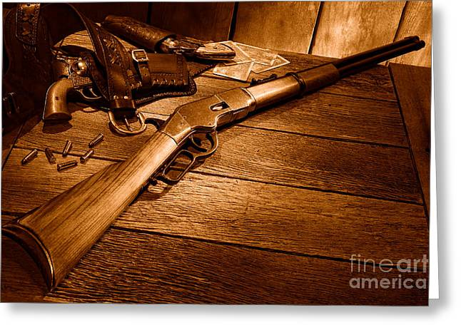 Waiting For The Gunfight - Sepia Greeting Card