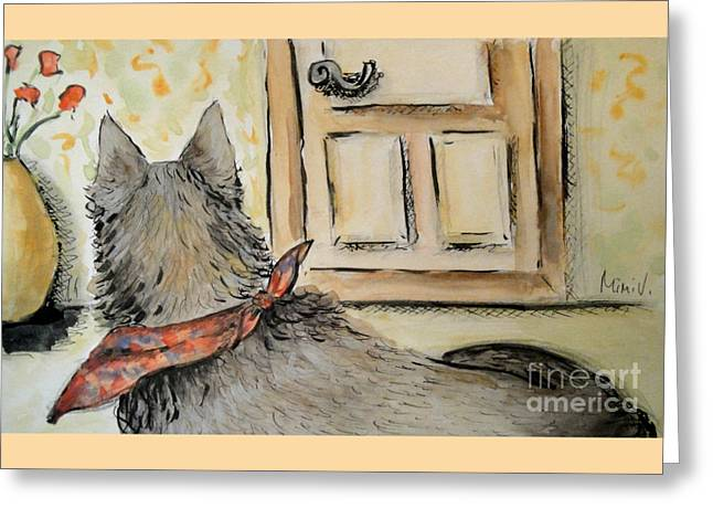 Greeting Card featuring the painting Waiting For The Humans by Maria Langgle