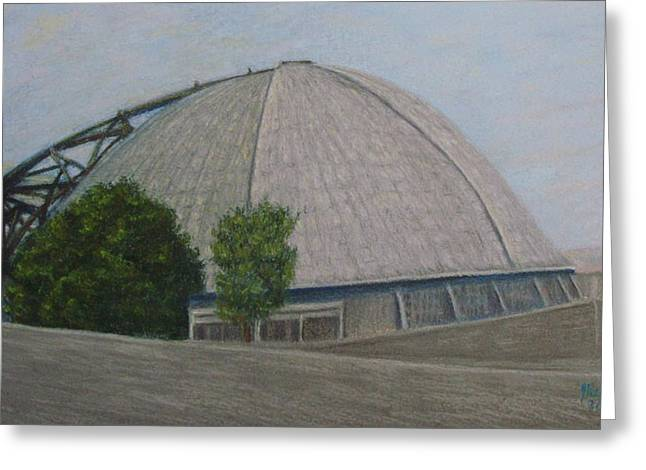 Historical Buildings Pastels Greeting Cards - Waiting for the Next Event Mellon Arena Pittsburgh Greeting Card by Joann Renner