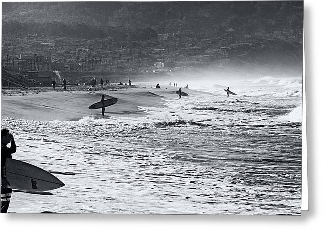 Waiting For The Surf By Mike-hope Greeting Card