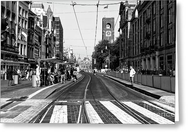 Waiting For The Tram Mono Greeting Card by John Rizzuto