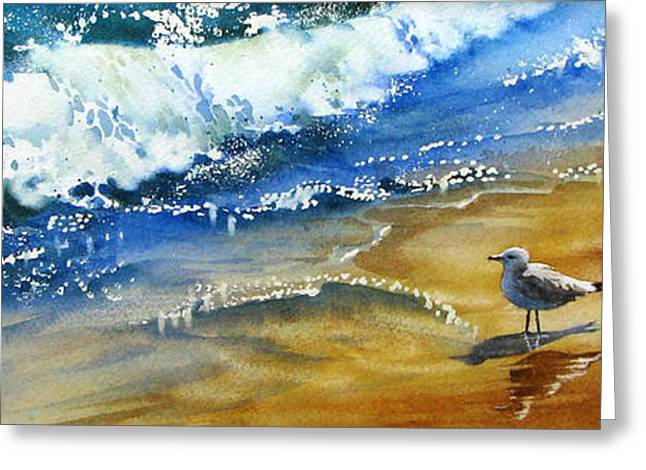 Waiting-for-the-wave Greeting Card by Nancy Newman