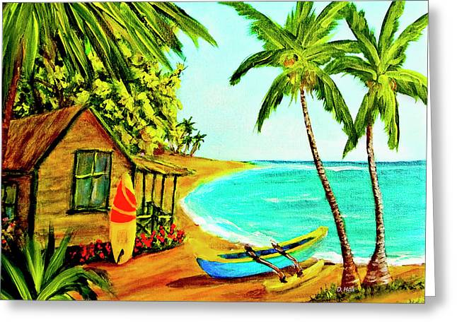Waiting For The Waves Hawaii #387  Greeting Card by Donald k Hall