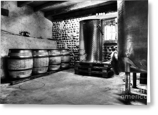 Waiting For Wine Bw Greeting Card by Mel Steinhauer