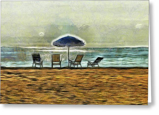 Greeting Card featuring the mixed media Waiting On High Tide by Trish Tritz