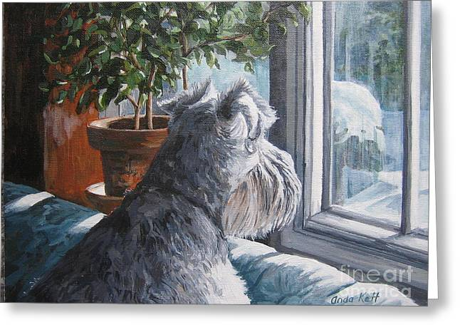 Schnauzer Greeting Cards - Waiting Patiently Greeting Card by Anda Kett