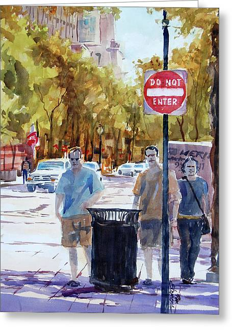Waiting To Cross Greeting Card by Ron Stephens